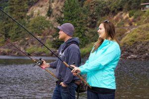 Couple samon fishing